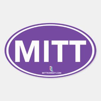 Pegatina oval del mitón de Romney Ryan (púrpura)