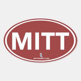 Pegatina oval del mitón de Romney Ryan (rojo)