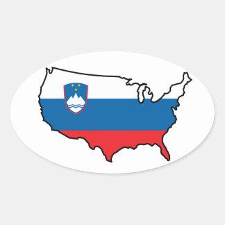 Pegatina oval: Esloveno en los E.E.U.U.