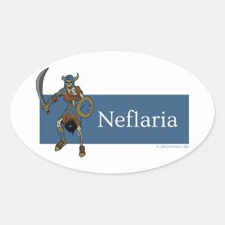 Pegatina oval esquelético de Neflaria