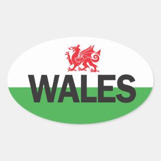 Pegatina oval euro del coche de País de Gales