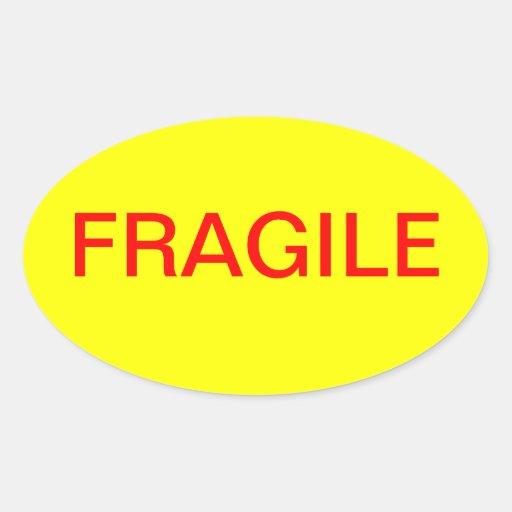 Pegatina oval frágil