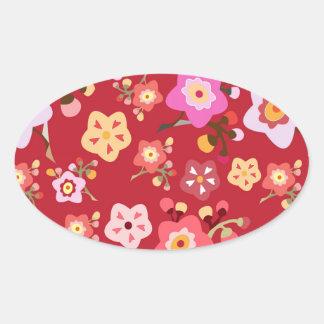 Pegatina oval rojo de la flor de cerezo