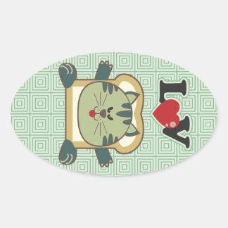 Pegatina oval verde del gato que empana