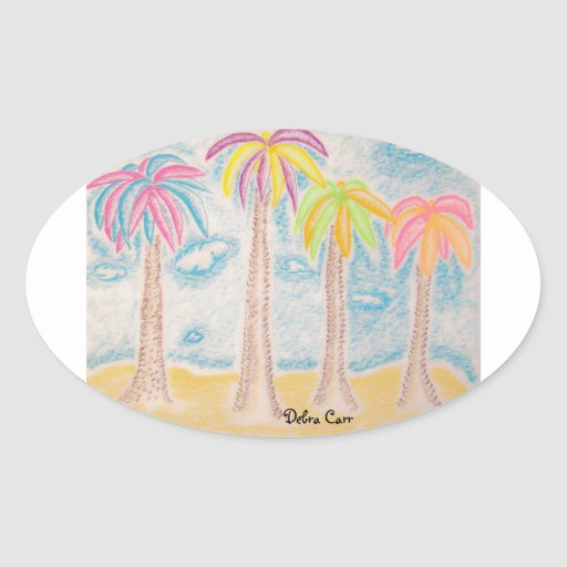 Pegatina Palma-oval colorido