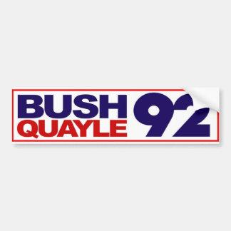 Pegatina para el parachoques 1992 de Bush Quayle Etiqueta De Parachoque