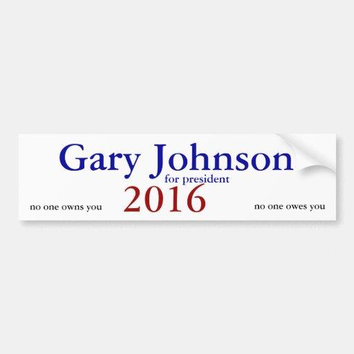 pegatina para el parachoques 2016 de Gary Johnson Pegatina De Parachoque