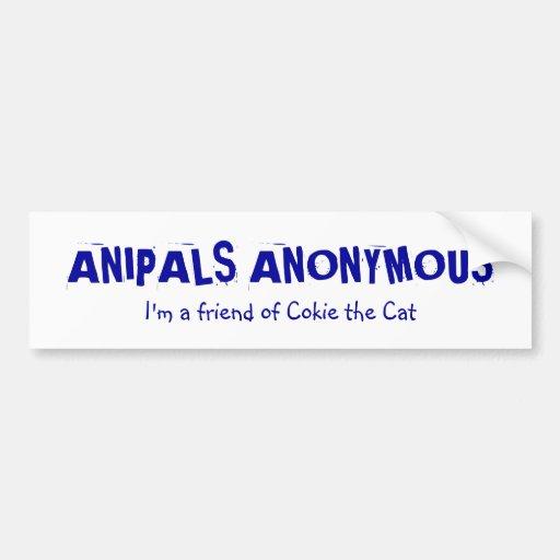 Pegatina para el parachoques anónima de Anipals Pegatina De Parachoque