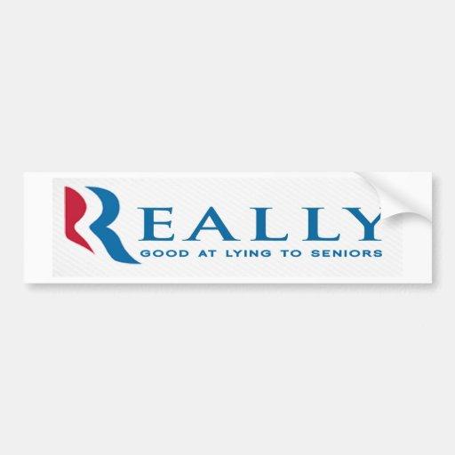 Pegatina para el parachoques anti de Romney: Mayor Etiqueta De Parachoque