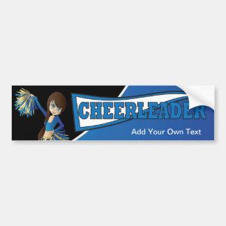 Pegatina para el parachoques azul de la animadora etiqueta de parachoque
