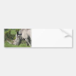Pegatina para el parachoques blanca del rinoceront etiqueta de parachoque