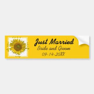 Pegatina para el parachoques casada amarilla del g etiqueta de parachoque