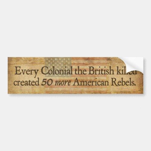 Pegatina para el parachoques colonial de las pegatina para auto