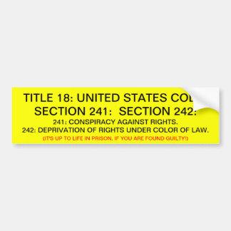 Pegatina para el parachoques con el título 18: USC Pegatina Para Auto