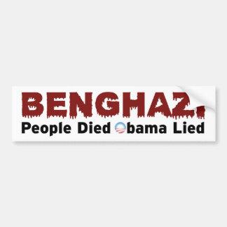 Pegatina para el parachoques de Anti-Obama Bengasi Pegatina Para Auto