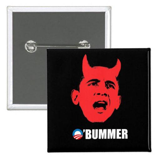 Pegatina para el parachoques de Anti-Obama - Obumm Pin Cuadrado