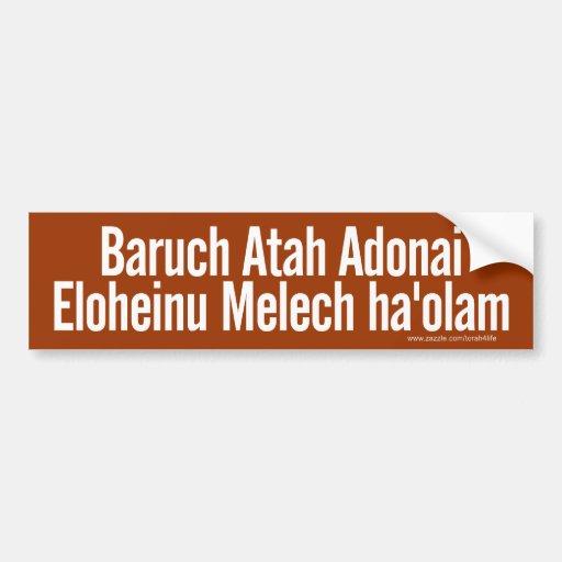 Pegatina para el parachoques de Baruch Atah (blanc Pegatina Para Auto
