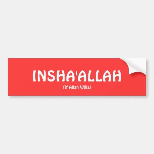 Pegatina para el parachoques de INSHA'ALLAH Pegatina De Parachoque