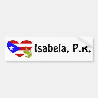 Pegatina para el parachoques de Isabela, Puerto Ri Pegatina Para Auto