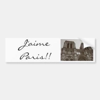 Pegatina para el parachoques de J aime París Pegatina De Parachoque