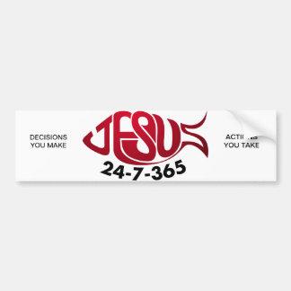 Pegatina para el parachoques de JESÚS 24-7-365 Etiqueta De Parachoque