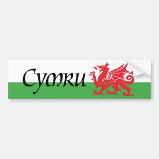 Pegatina para el parachoques de la bandera de Cymr Pegatina Para Auto