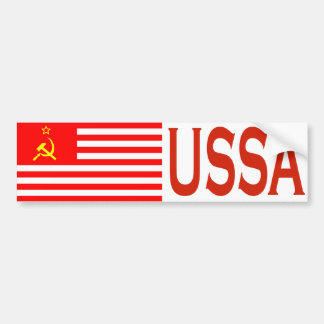 Pegatina para el parachoques de la bandera de USSA Pegatina De Parachoque