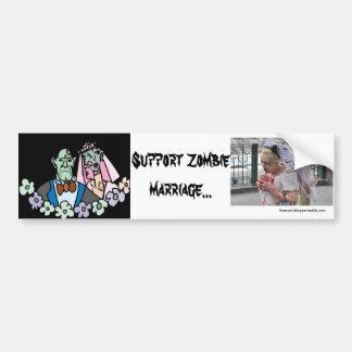 Pegatina para el parachoques de la boda del zombi  etiqueta de parachoque