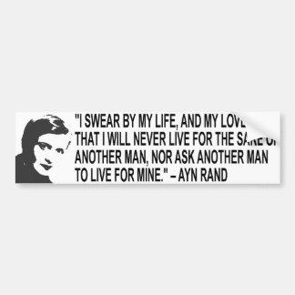 Pegatina para el parachoques de la cita de Ayn Ran Pegatina De Parachoque