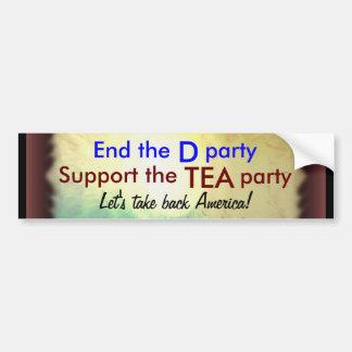 Pegatina para el parachoques de la fiesta del té pegatina para auto