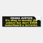 Pegatina para el parachoques de la justicia de Oba Etiqueta De Parachoque