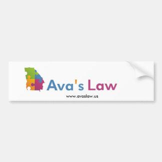 Pegatina para el parachoques de la ley de Ava Pegatina Para Coche
