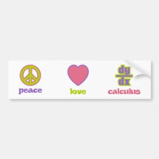 Pegatina para el parachoques de la paz, del amor y pegatina para auto