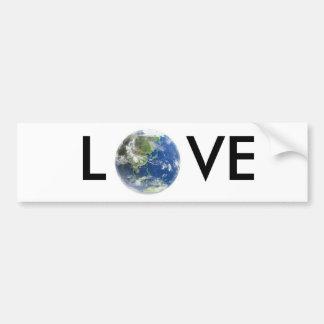 Pegatina para el parachoques de la tierra del amor etiqueta de parachoque