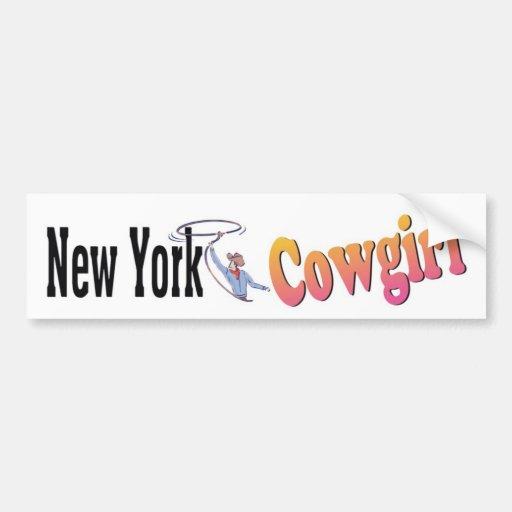 Pegatina para el parachoques de la vaquera de NY Pegatina Para Auto