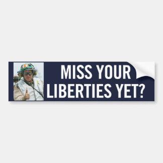 Pegatina para el parachoques de las libertades civ etiqueta de parachoque