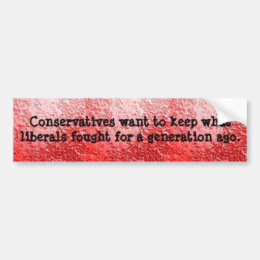 Pegatina para el parachoques de los conservadores  pegatina de parachoque