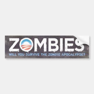 Pegatina para el parachoques de los zombis de Obam Pegatina De Parachoque
