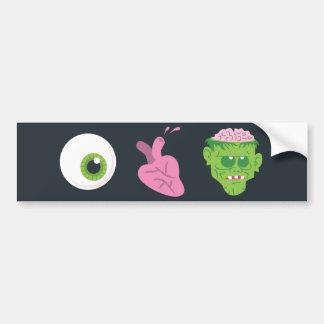 Pegatina para el parachoques de los zombis del cor etiqueta de parachoque