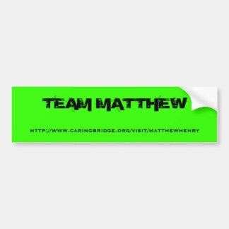 Pegatina para el parachoques de Matthew del equipo Pegatina Para Auto