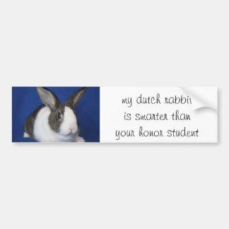 "pegatina para el parachoques de ""mi conejo holandé etiqueta de parachoque"