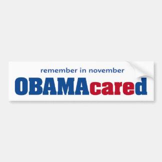 Pegatina para el parachoques de Obamacared Pegatina Para Auto