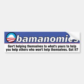 Pegatina para el parachoques de Obamanomics Etiqueta De Parachoque