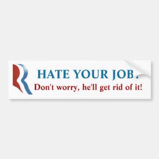 ¡Pegatina para el parachoques de Romney - odie su  Pegatina Para Auto