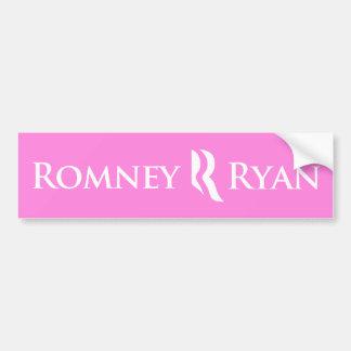 Pegatina para el parachoques de Romney Ryan (rosa) Pegatina De Parachoque