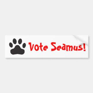 """pegatina para el parachoques de Seamus del voto"" Etiqueta De Parachoque"