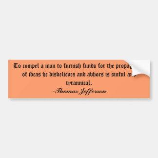 Pegatina para el parachoques de Thomas Jefferson Pegatina Para Auto