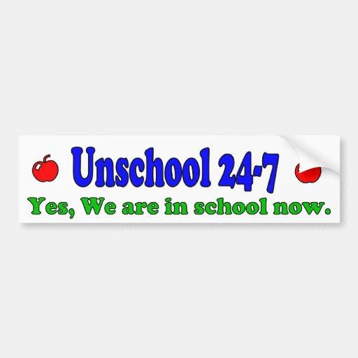 Pegatina para el parachoques de Unschool 24-7 Pegatina Para Auto