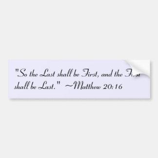 Pegatina para el parachoques del 20:16 de Matthew Pegatina Para Auto