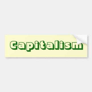 Pegatina para el parachoques del capitalismo etiqueta de parachoque